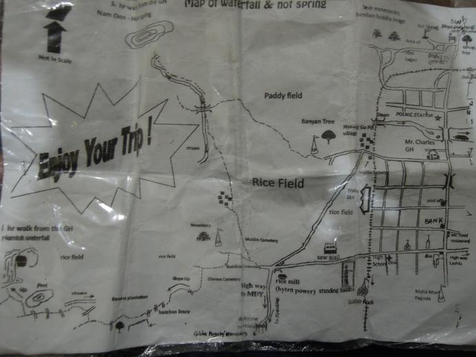 Mapa górskich okolic Hsipaw. Przyjemnej podróży!, fot. M. Lehrmann