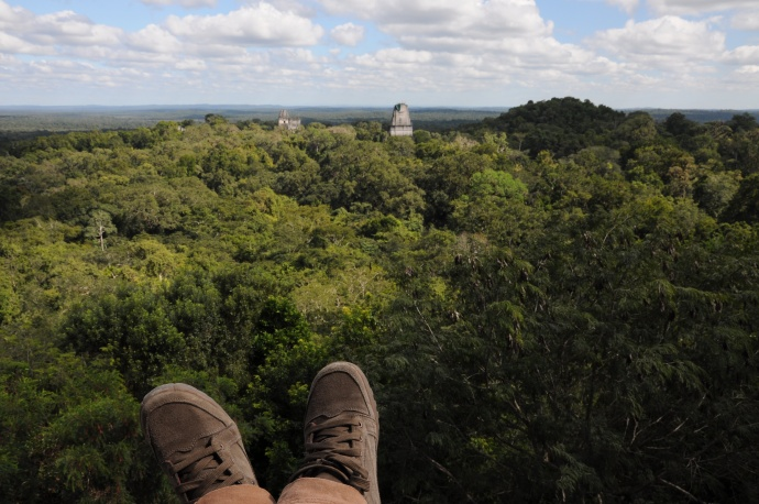 Widok na dżunglę ze świątyni IV, najwyższej struktury Tikalu. W oddali słychać głośne porykiwania małp wyjców, fot. Ulka Kupińska