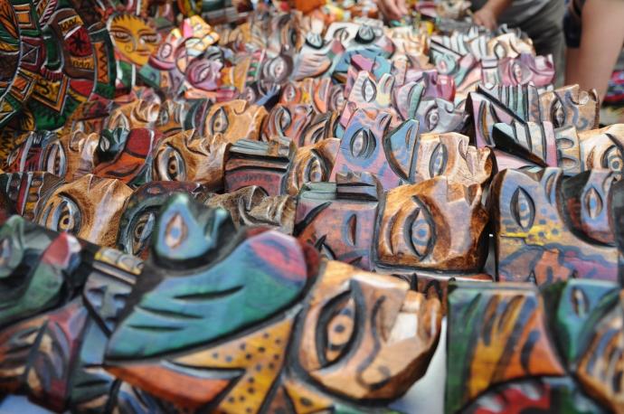 Drewniane maski, Chichicastenango, Gwatemala, fot. Ula Kupińska